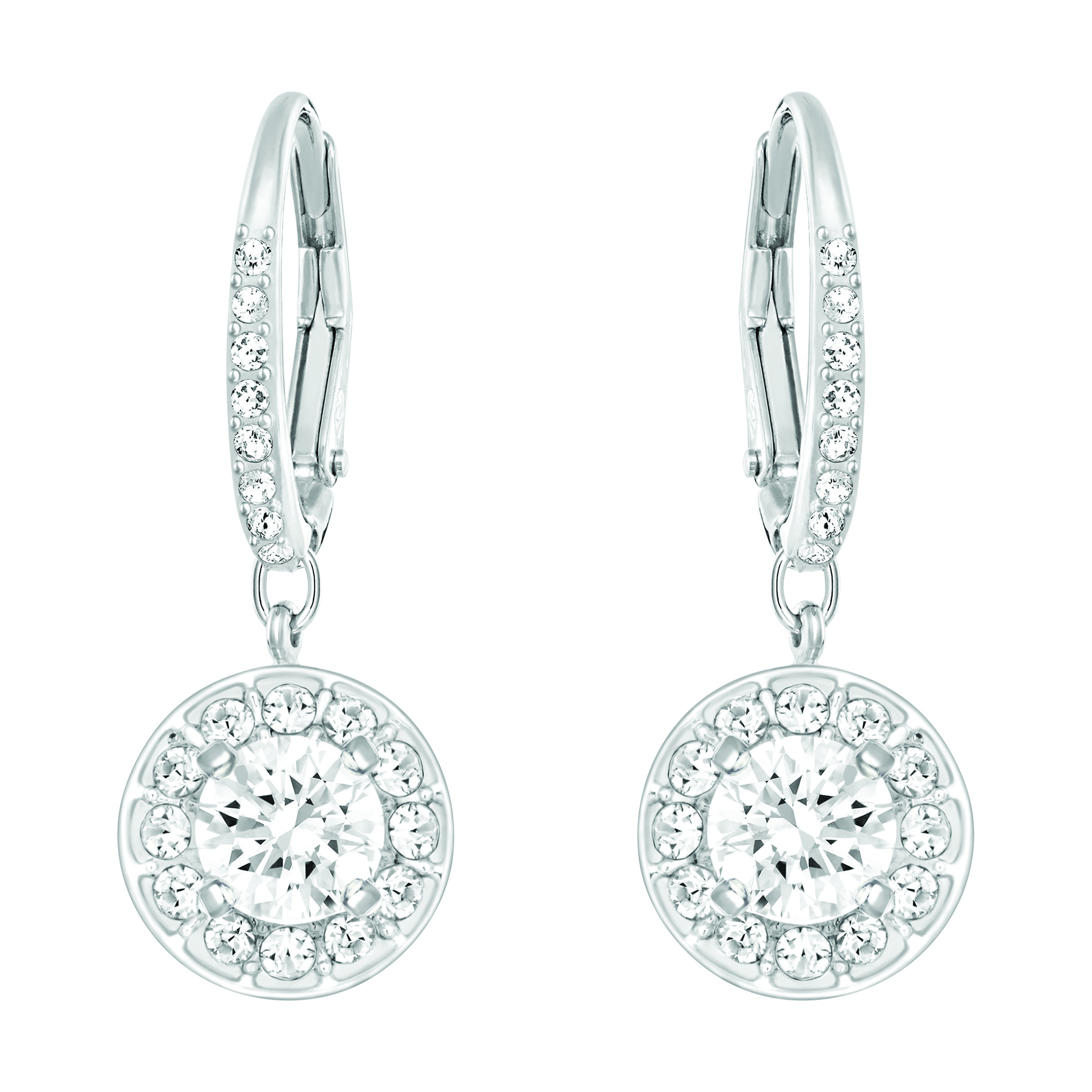 A timeless pair of rhodium-plated earrings for every occasion. Featuring sparkling clear crystal pavé and dangling elements, they give you that brilliant sparkle and combine easily with other Swarovski jewelry.