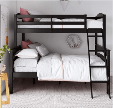 Amazon Wood Bunk Beds Twin Over Full With Ladder And Guard Rail Black Just 239 Reg 336 As Of 12 12 2018 10 30 Am Cst Deals Finders Wood Bunk Beds Bunk Beds Black Bunk Beds