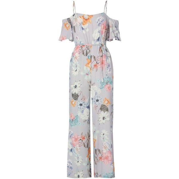 f386db4b006e Bardot Cold Shoulder Tie Waist Floral Jumpsuit ( 42) ❤ liked on Polyvore  featuring jumpsuits