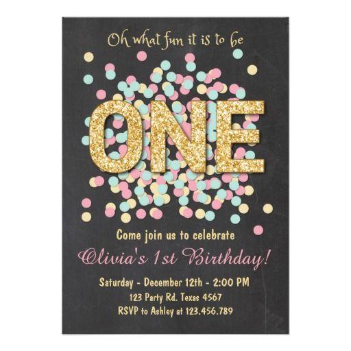 First birthday invitation Girl Pink Gold mint Birthdays, Gold and - invitation for 1st birthday party girl
