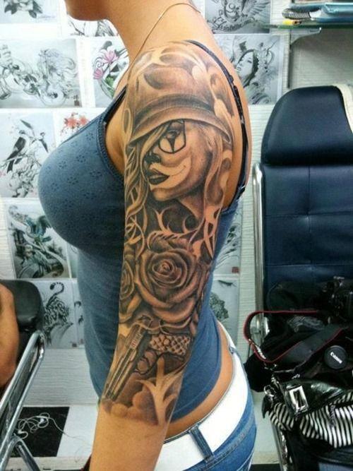 cool half sleeve tattoo design for girls girl tattoos. Black Bedroom Furniture Sets. Home Design Ideas