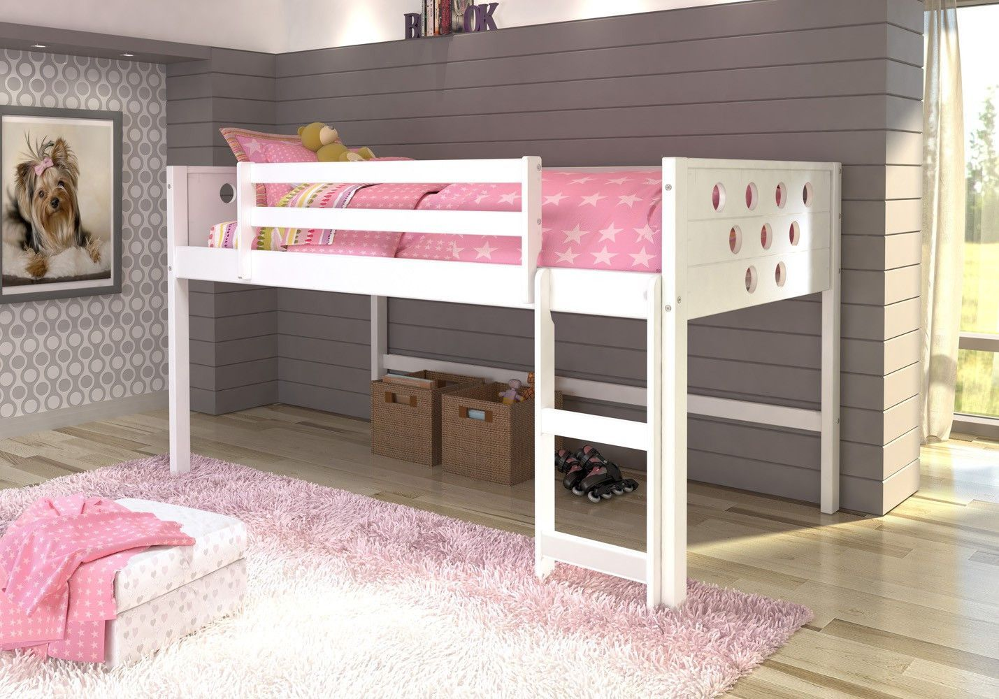 Aria Twin White Loft Bed Low Loft Beds Bunk Beds With Stairs