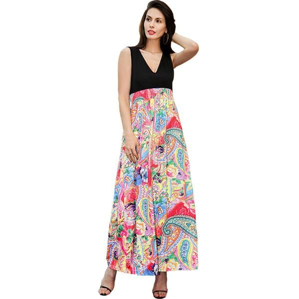 Ruiyige African Vintage Floral Print Dress Women Sleeveless Tunic A-line Vest Tank Elbise V-neck Contrast Patchwork Maxi Robe
