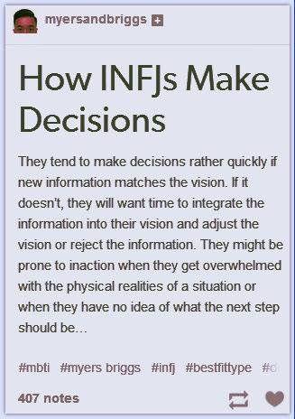 INFJ decision-making.