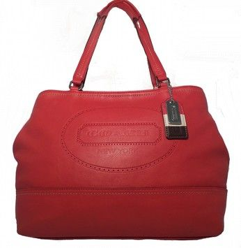 Coach Hamptons Perforated/19391 Carnelian Red Tote Bag $148