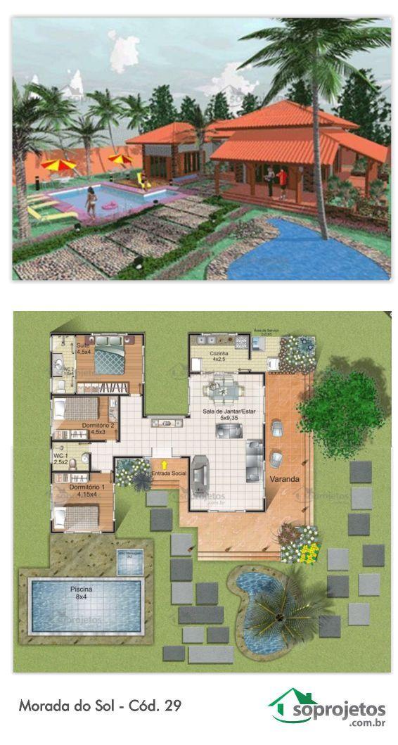 Projeto de casa morada do sol c d 29 metro quadrado for Sala de 9 metros quadrados