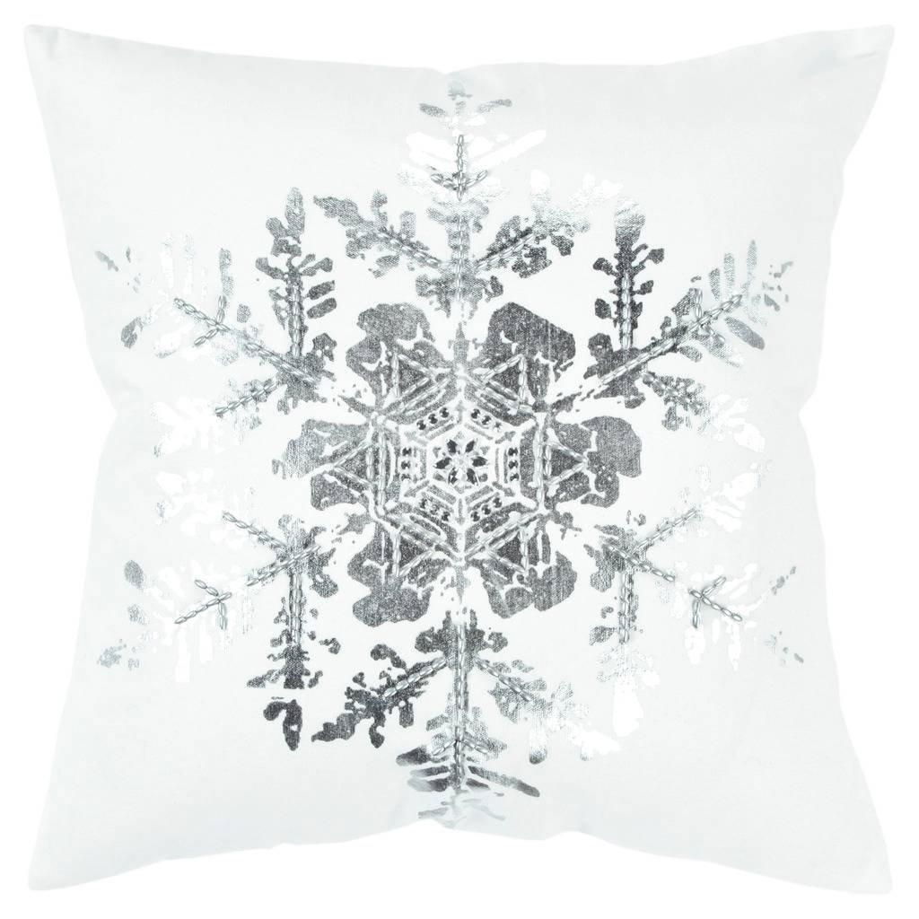 Rizzy Home Snowflake White Silver Metallic Decorative Poly Filled Pillow 20 X20 20 X 20 Cotton Abstract Silver Pillows Throw Pillows Christmas Pillow