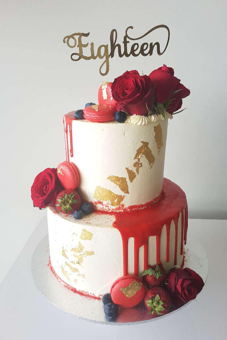 Surprising Red Drip Roses Macarons Strawberries Berries Amd Gold Leaf A Funny Birthday Cards Online Elaedamsfinfo