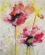 Discover Original Art for Sale Online at UGallery | Dreamy Poppies watercolor painting by Karin Johannesson