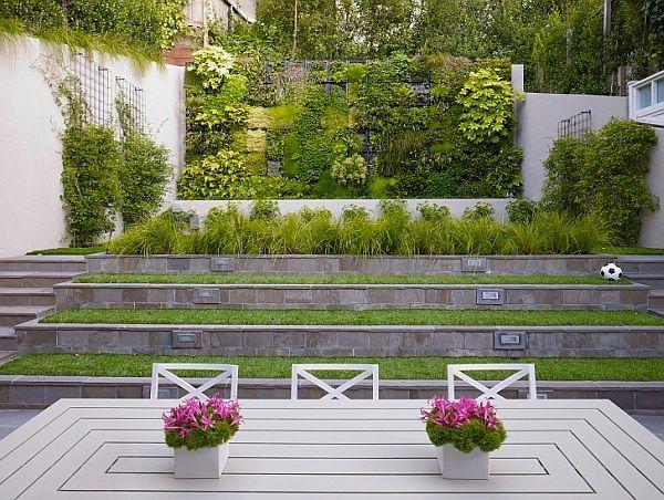 Garten Ideen Gestaltung Vertikale Wand Terrassenartig Stufen