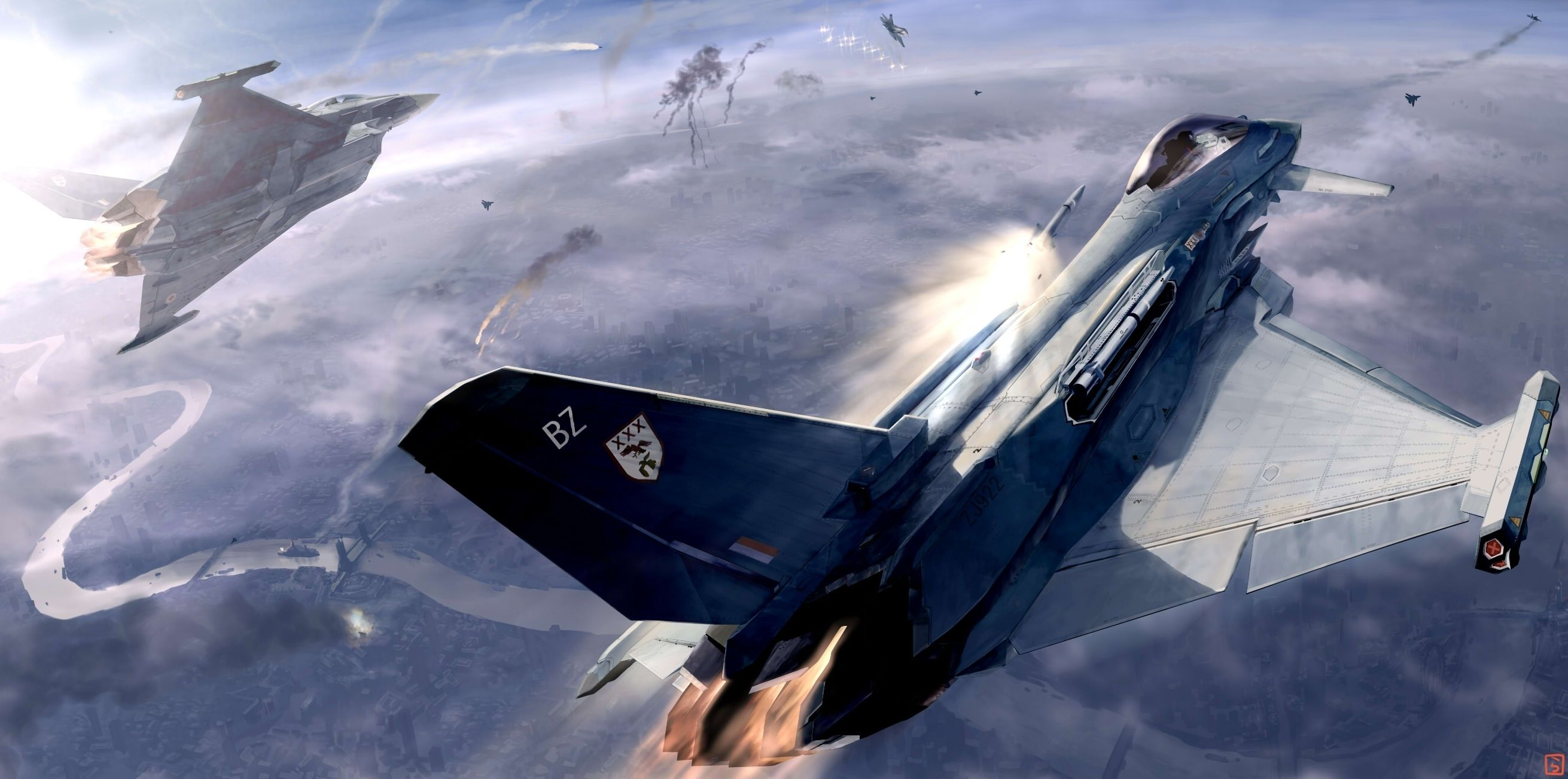 Aerial Dogfight   Fighter Aircraft   Fighter jets, Aviation art