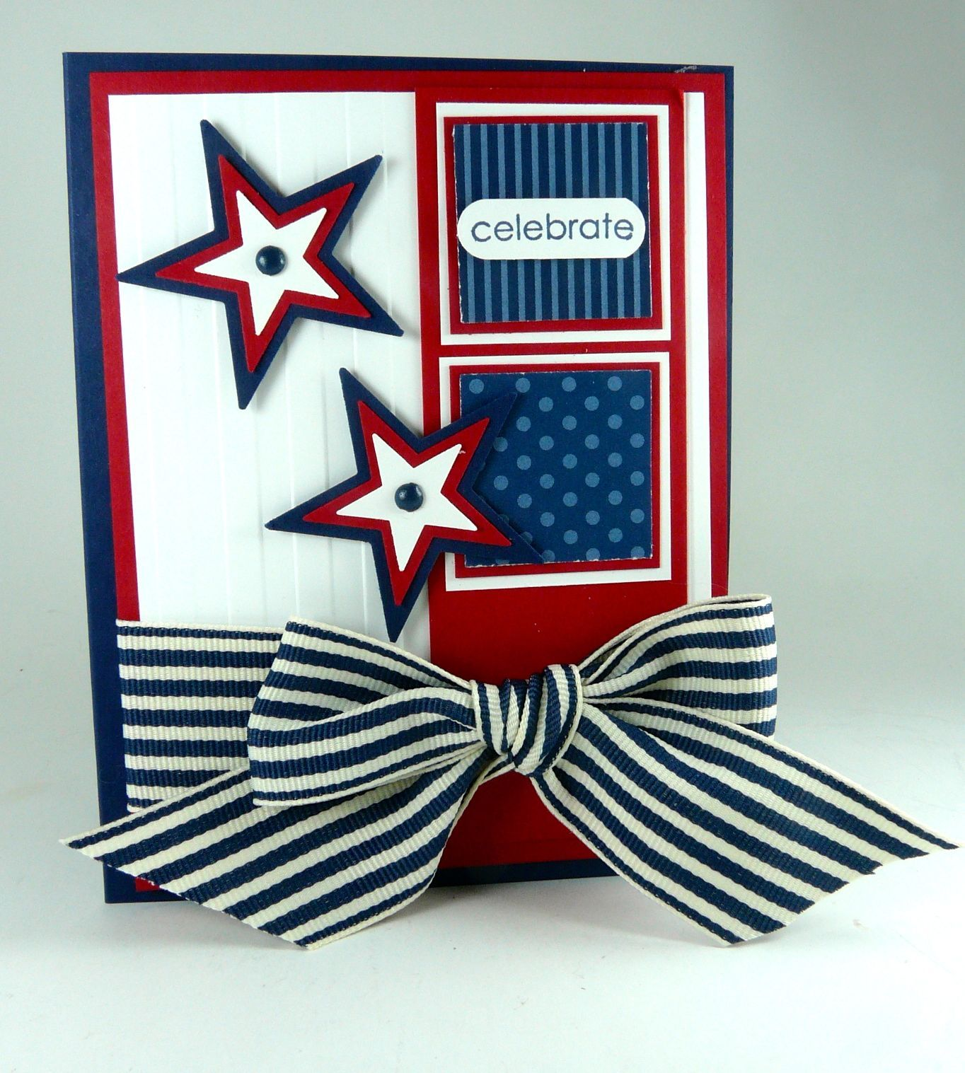Hand Crafted Of July Card Red White And Blue Stampin Up Maybe Use A Smaller Bow