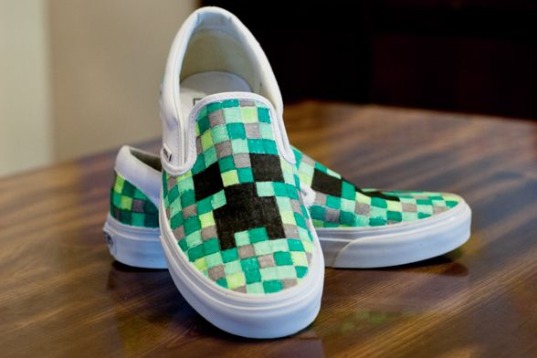 615de3cfe4 DIY Minecraft Creeper shoes! I made them myself and the kiddo couldn t be  happier.  3