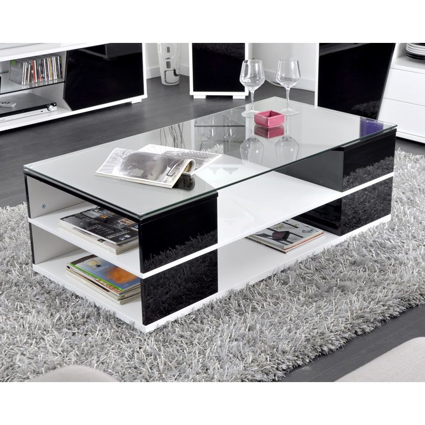 Table basse design 6 niches plateau verre tremp denver - Table plateau verre trempe ...