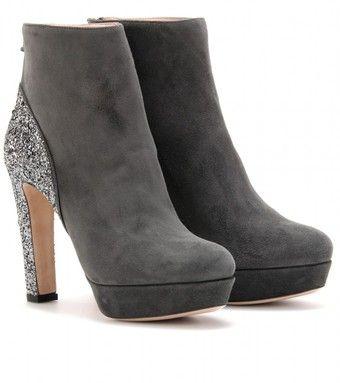 Miu Miu  Suede and Glitter Ankle Boots