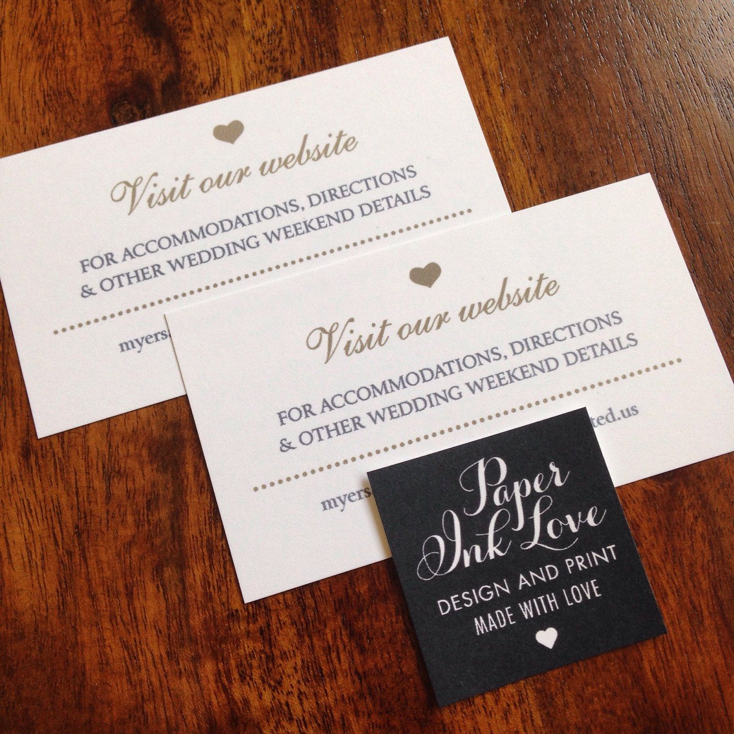Wedding Website Cards, Enclosure Cards, Wedding Hashtag Cards or ...