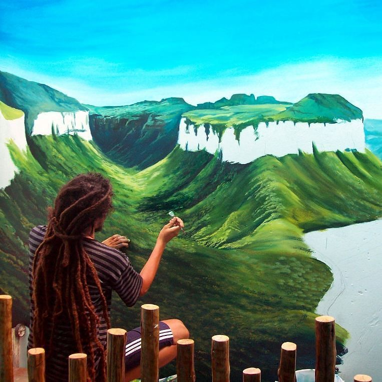 On instagram by dmitrideigatu #landscape #contratahotel (o)  Painting a mural Pati Valley in Salvador Bahia. ---------------------------------------- Pintando um mural do Vale do Pati em Salvador Bahia.  #mural #muralpainting #streetart #painter #acrylicpainting #wallpainting #mural3d #3d #art #arte #dmitrideigatu #pinturamural #pintura #ssa #salvador #pinturaacrílica #paisagem  #artist #artistadachapada #valedopati #chapadadiamantina #soschapadadiamantina #igatu #andarai #canon…