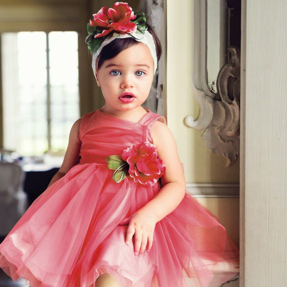 Coral pink tulle dress aletta girl little children pinterest