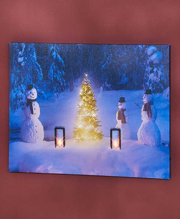 Lighted Pictures Wall Decor lighted winter scene canvas wall art christmas decor cardinal