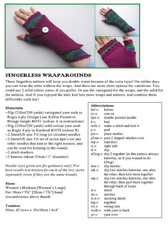 Fingerless Wraparounds PDF knitting pattern | crochet | Pinterest
