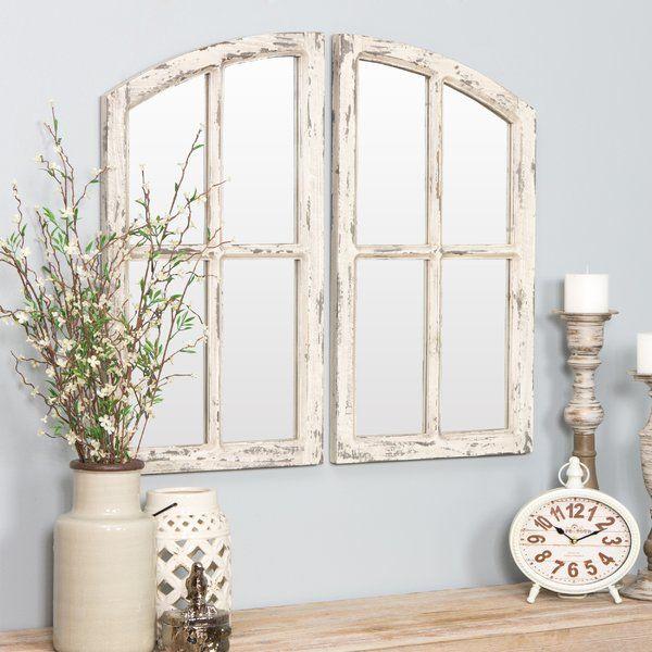 46 Best Farmhouse Home Decor Ideas You Will Totally Love: 2 Piece Kissena Window Pane Accent Mirror Set In 2019