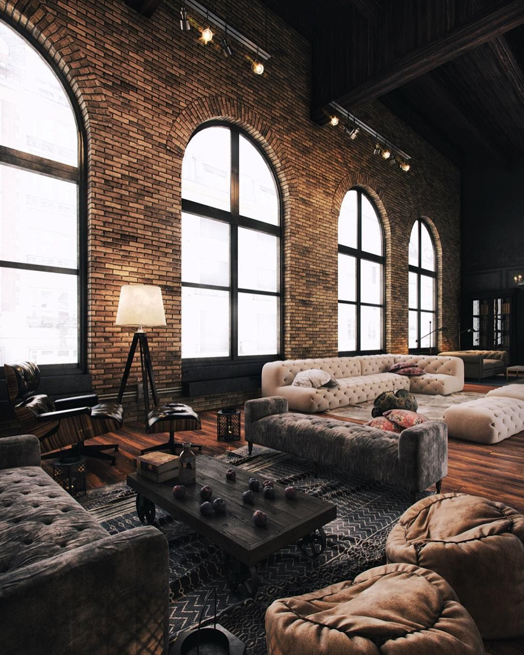 Interior Design Architecture On Instagram Dramatic And Industrial Loft Style T Industrial Living Room Design Loft Design Industrial Lighting Design