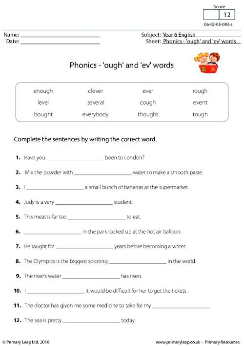 phonics 39 ough 39 and 39 ev 39 words worksheet phonics phonics early reading. Black Bedroom Furniture Sets. Home Design Ideas