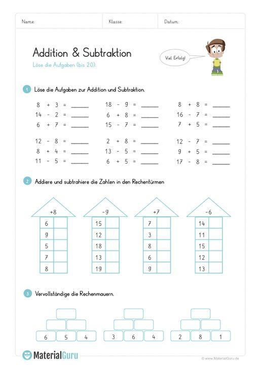 ein kostenloses arbeitsblatt zur addition und subtraktion auf dem die sch ler gemischte. Black Bedroom Furniture Sets. Home Design Ideas