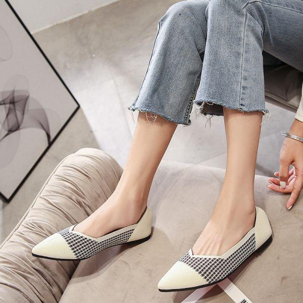 Beige Knit Ballet Flats Shoes-Brown Plaid