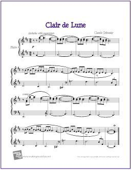Clair De Lune Debussy Free Sheet Music For Easy Piano Http
