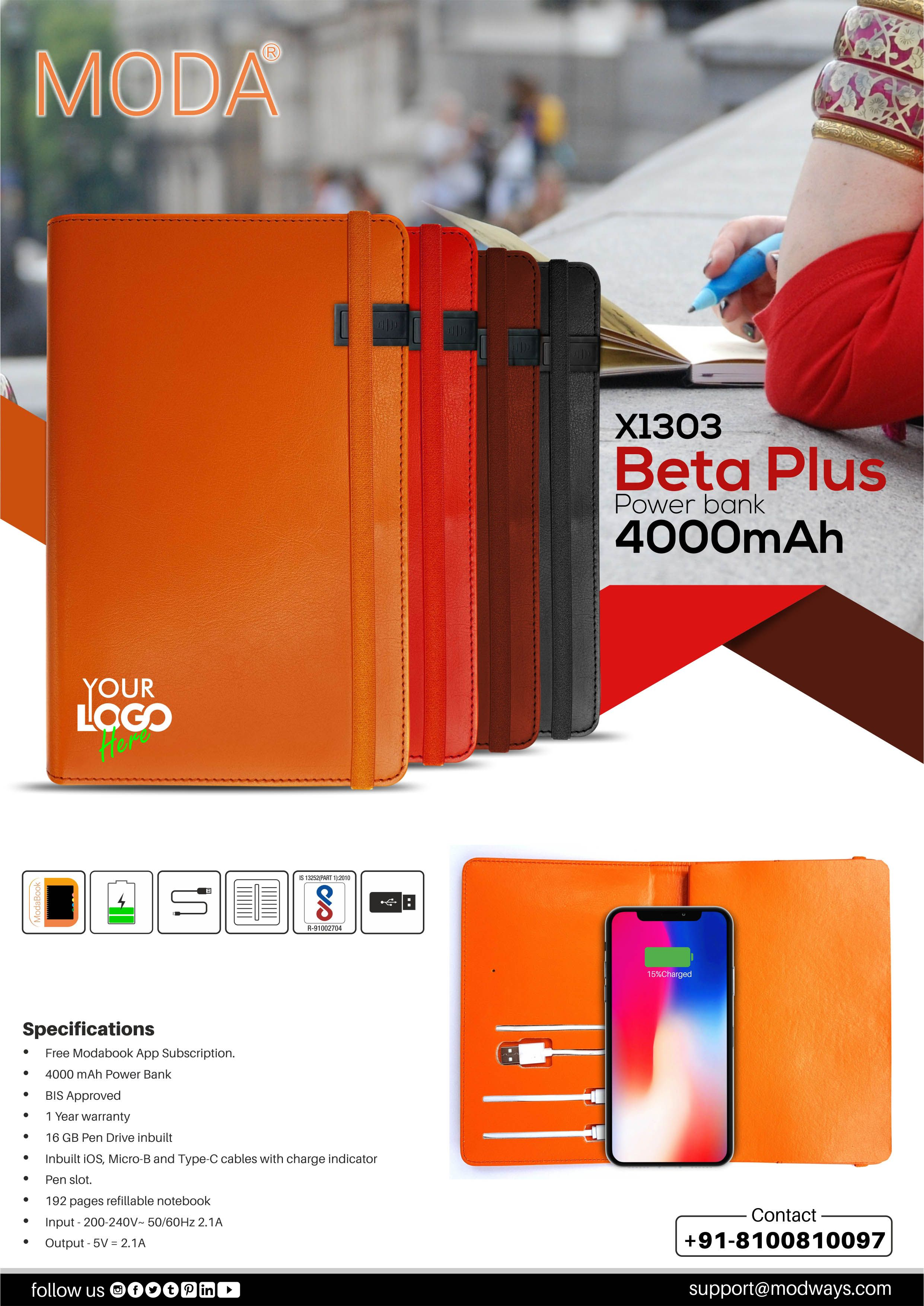 Power Bank Planner With 4000 Mah Power Bank With 16 Gb Pen Drive Pen Drive Powerbank Power