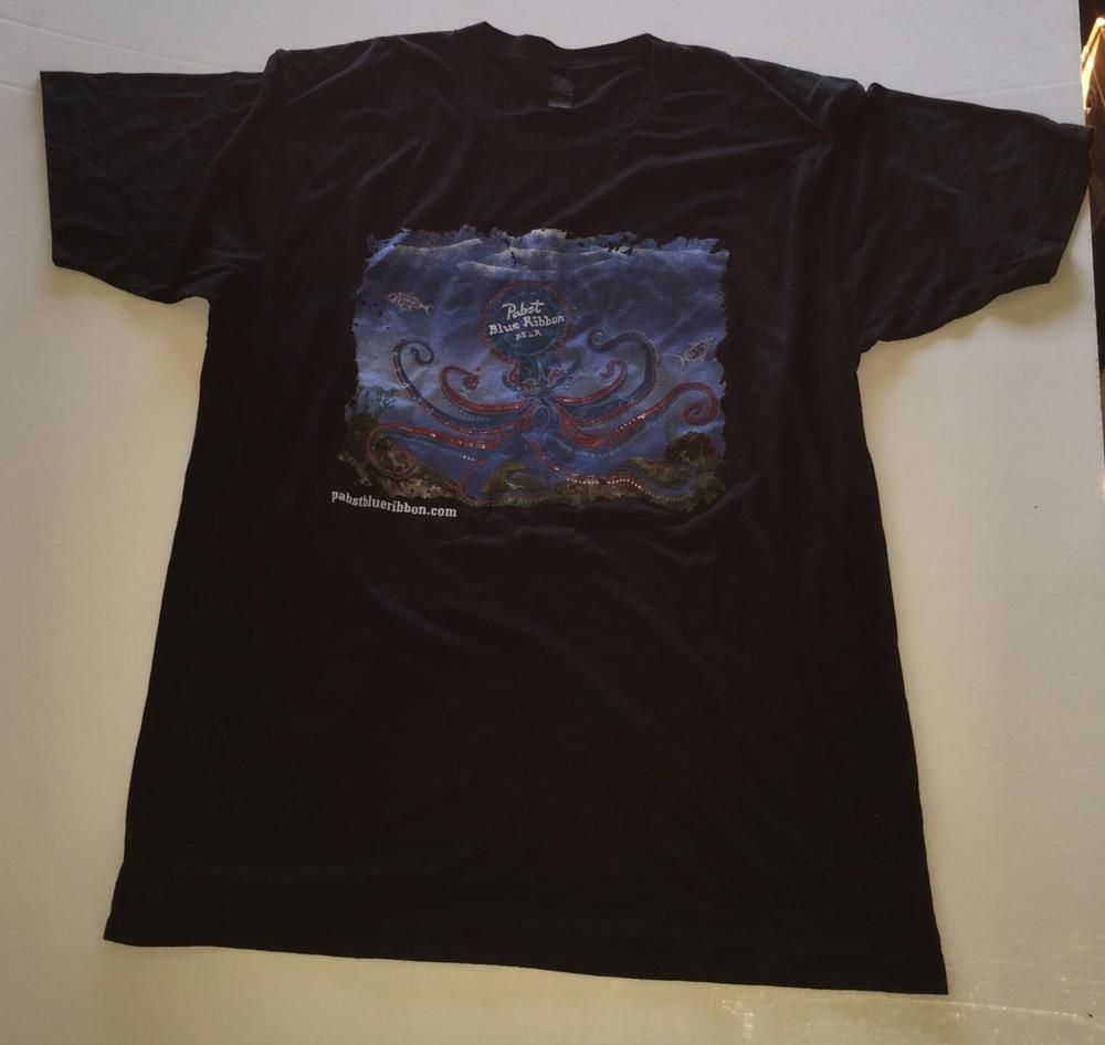 BRAND NEW Pabst Blue Ribbon PBR Beer Men/'s Charcoal Grey T-Shirt Large L
