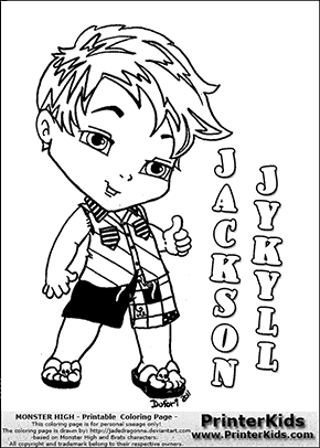 Monster High - Jackson Jekyll Baby Chibi Cute - Coloring Page   2 ...