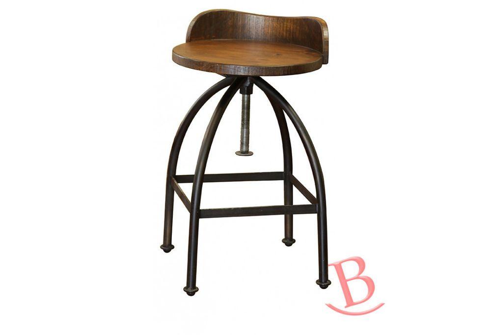 24 30 Adjustable Height Swivel Bar Stool Wooden Seat Iron Base