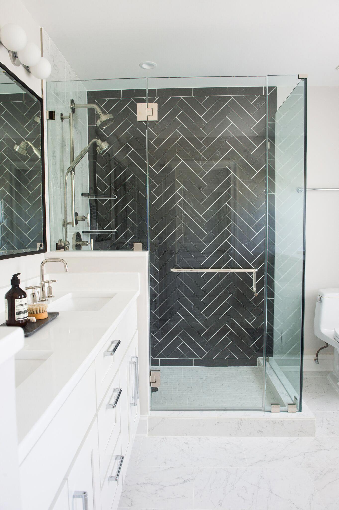Black Herringbone Tile Bathroom Black And White Bathroom Whitetiledbathroom Herringbone Tile Bathroom Black Tile Bathrooms Tile Bathroom