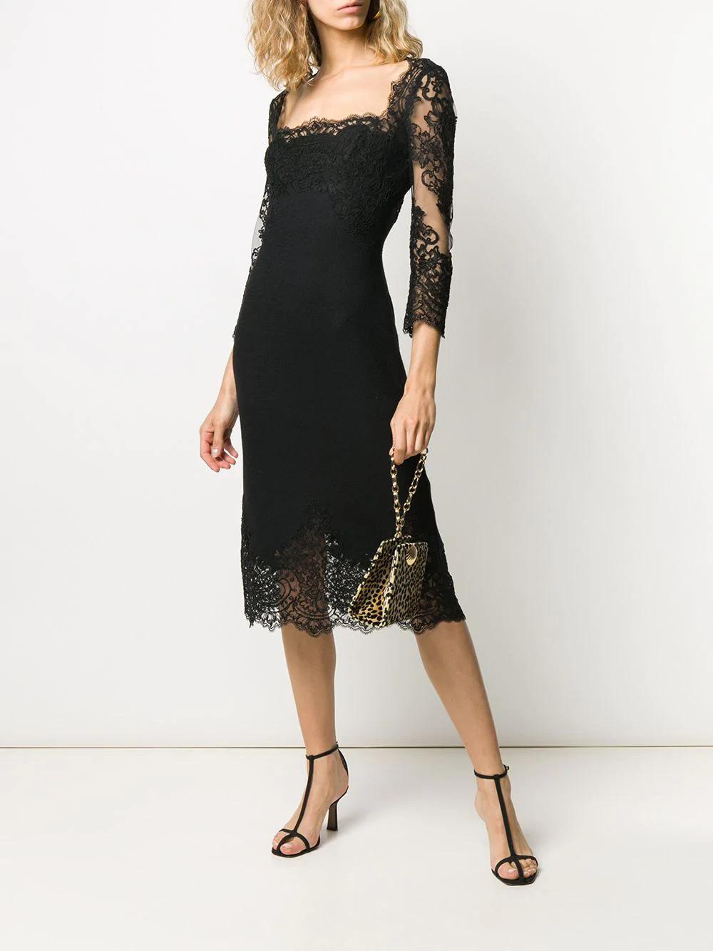 Ermanno Scervino Lace Panel Square Neck Dress Farfetch Square Neck Dress Dresses Lace Dress Black [ 1334 x 1000 Pixel ]