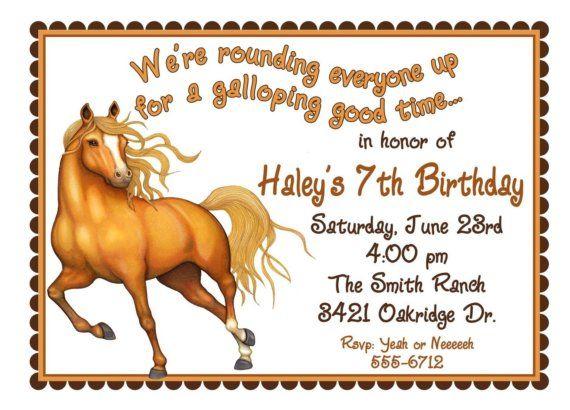 Horse Invitations Horse Birthday party invitations Horse invites