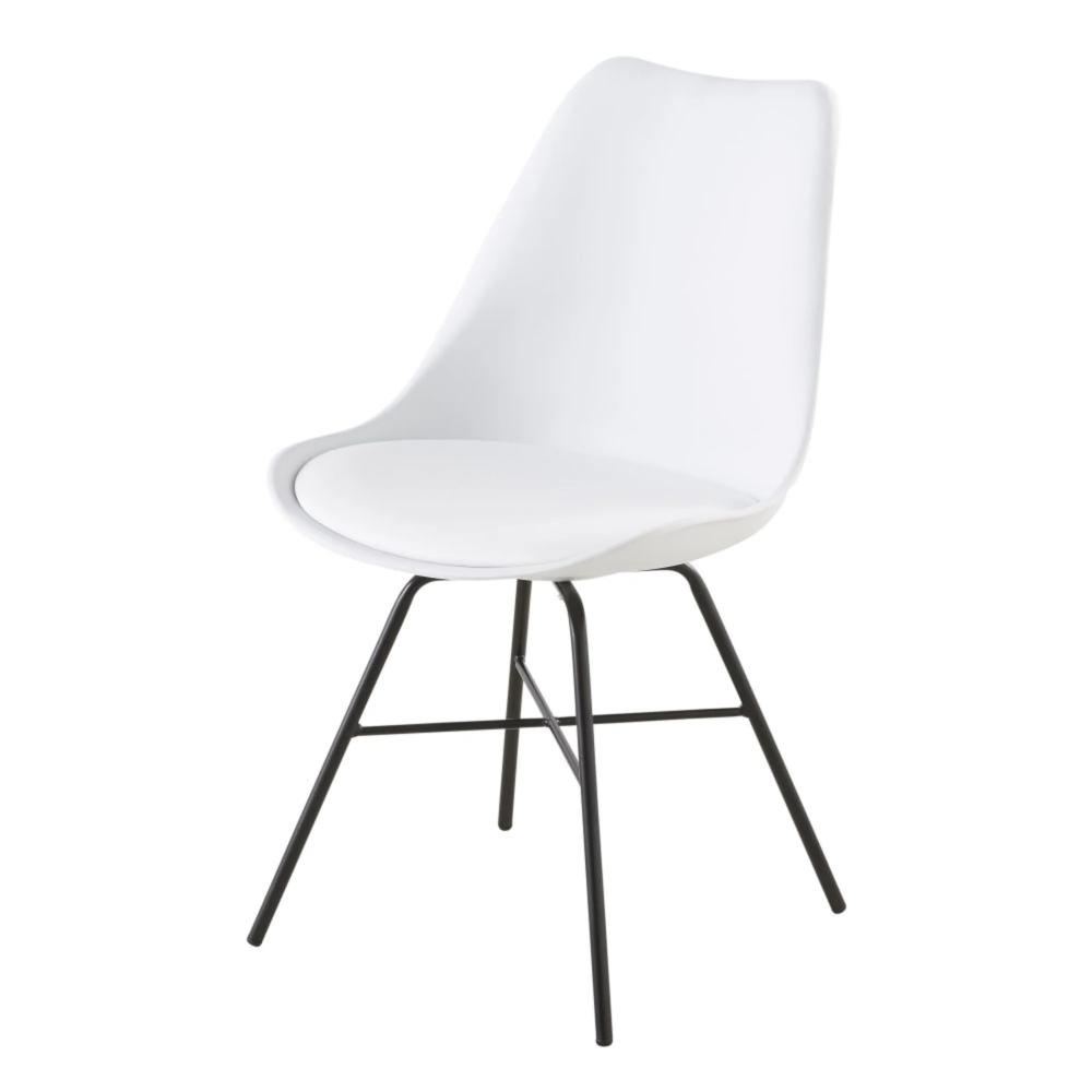 Chaise blanche et pieds en métal noir | Chaises blanches