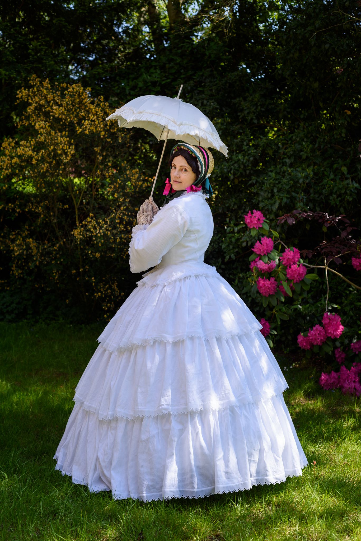 1850s Summer Gown On A Crinoline By Prior Attire Historical Dresses Victorian Fashion Edwardian Clothing [ 2048 x 1367 Pixel ]