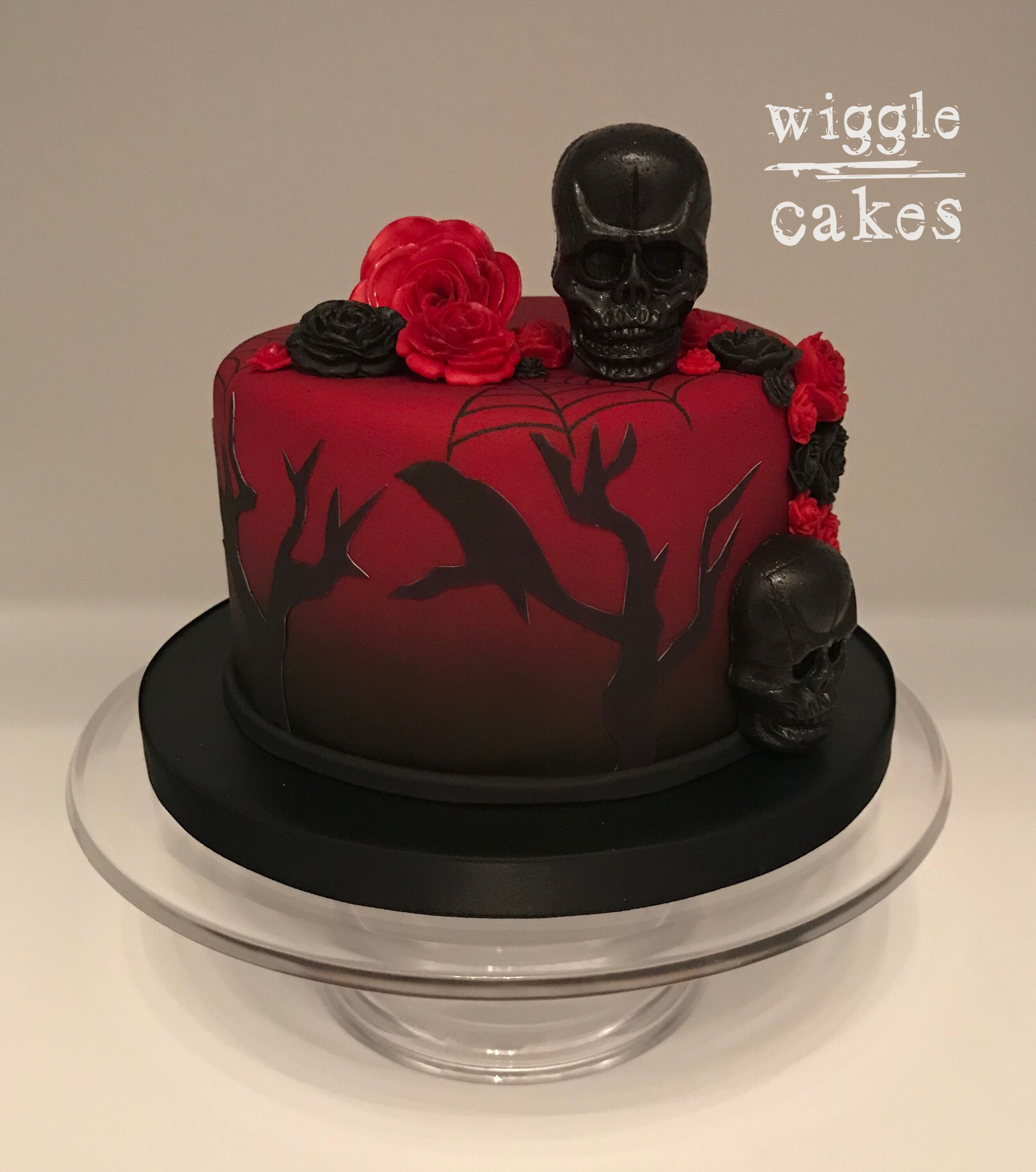 Incredible Red And Black Gothic Cake With Ravens Skulls And Roses Gothic Funny Birthday Cards Online Inifofree Goldxyz