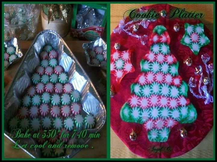 Make a Christmas tree shaped serving tray out of peppermintsGet