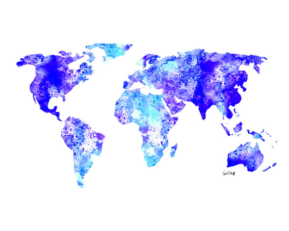 Watercolor world map print wall art painting illustration globe watercolor world map print wall art painting illustration globe art drawing gumiabroncs Images