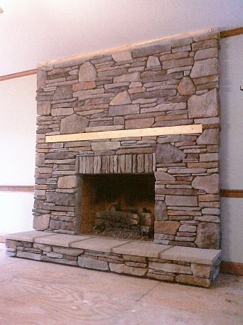 manufactured stone veneer that i installed in dry stack over a drab brick fireplace - How To Stone Veneer Fireplace