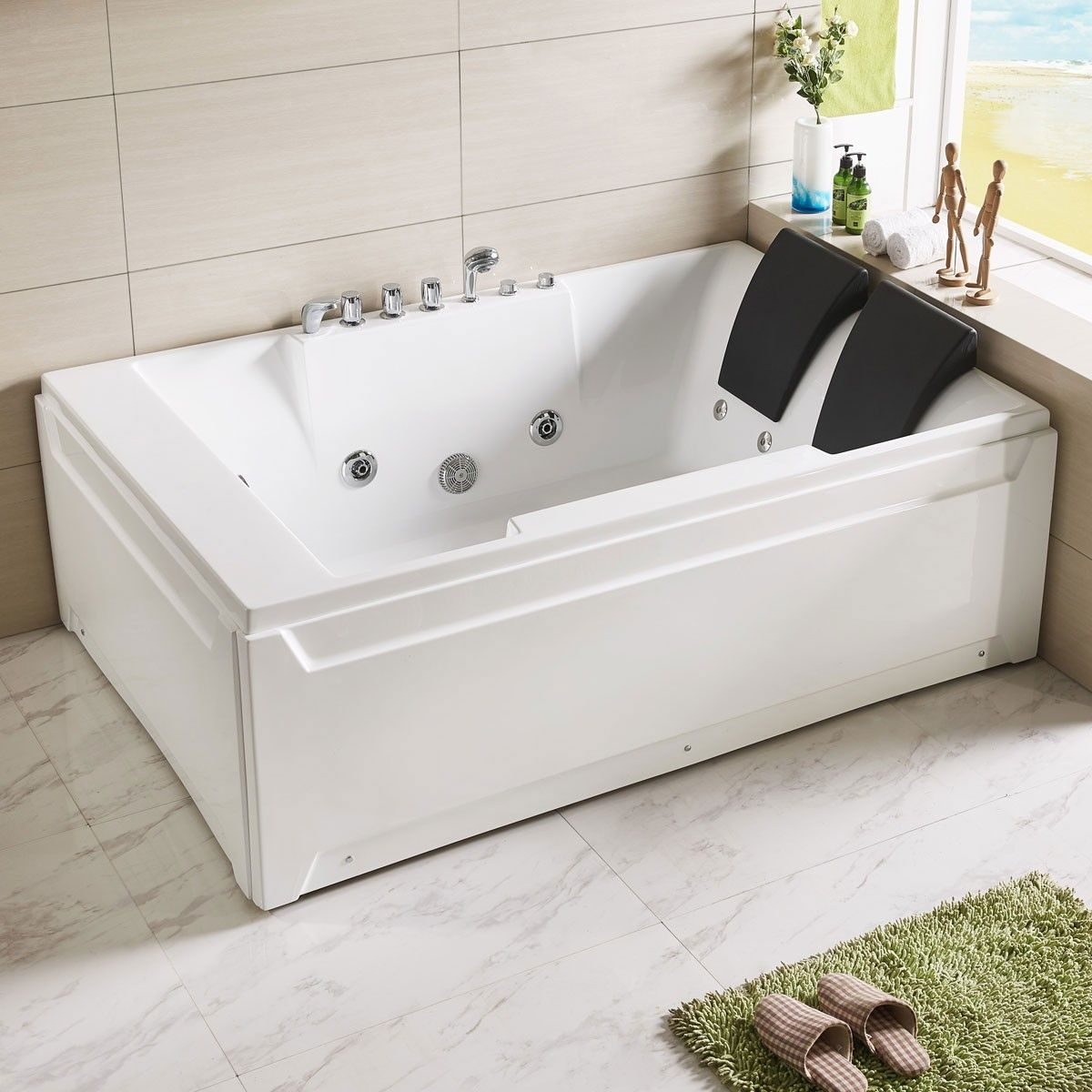 72 X 48 In Whirlpool Tub With Double Pillow Dk Q367 Baignoire