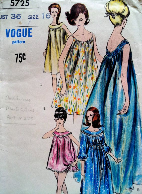 1960s Nightgown and Panties Pattern, Vogue Pattern 5725, Bust 36 ...