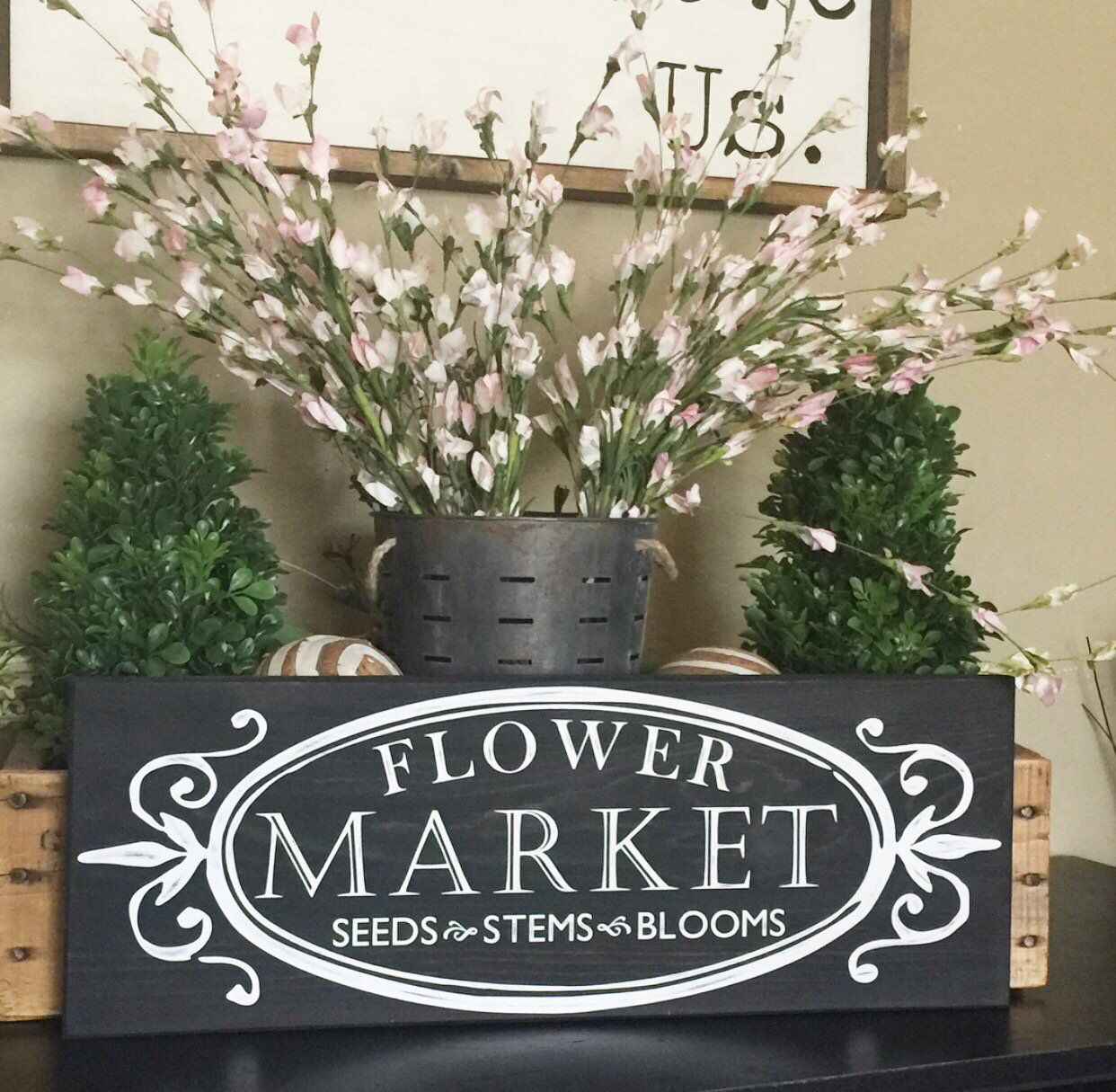 Rustic Chalkboard style Flower Market sign, French Country