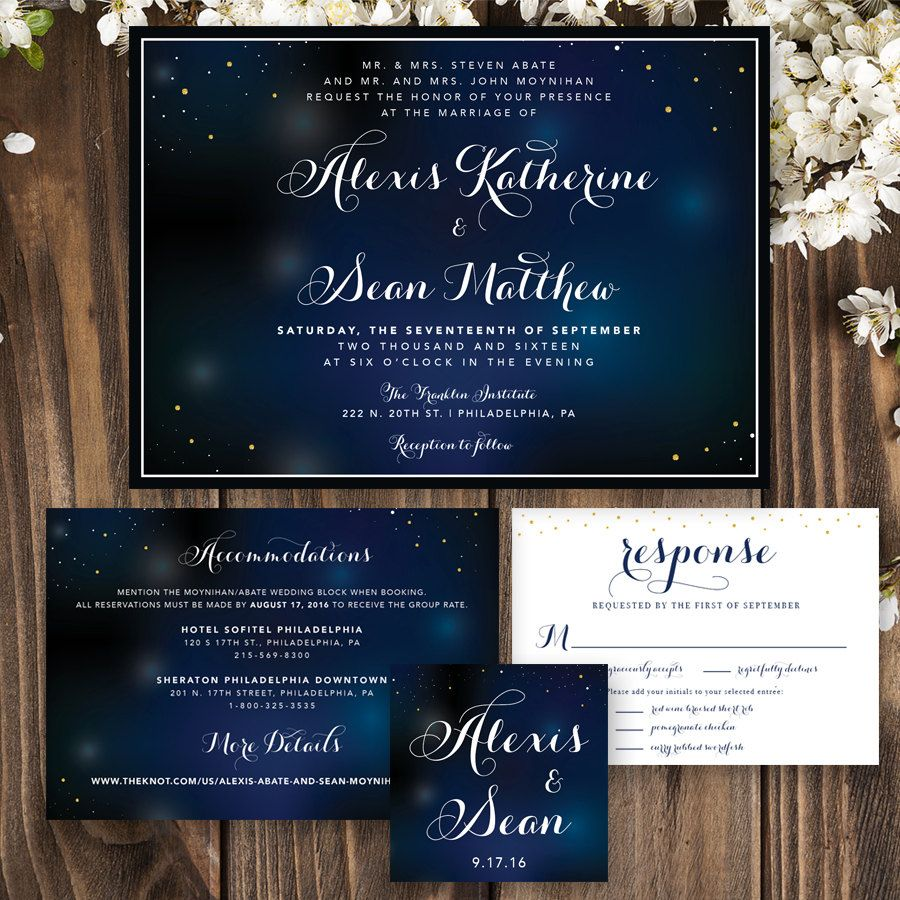 Starry Night Wedding Starry Night Print Wedding Invitation