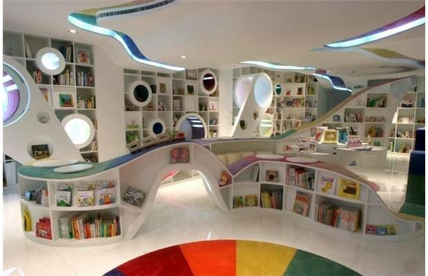 Photos: The 20 coolest bookstores in the world - Poplar Kid's Republic, Beijing    Start with an all-white interior and then infuse your space with a rainbow of colour, and you get the Poplar Kid's Republic in Beijing.