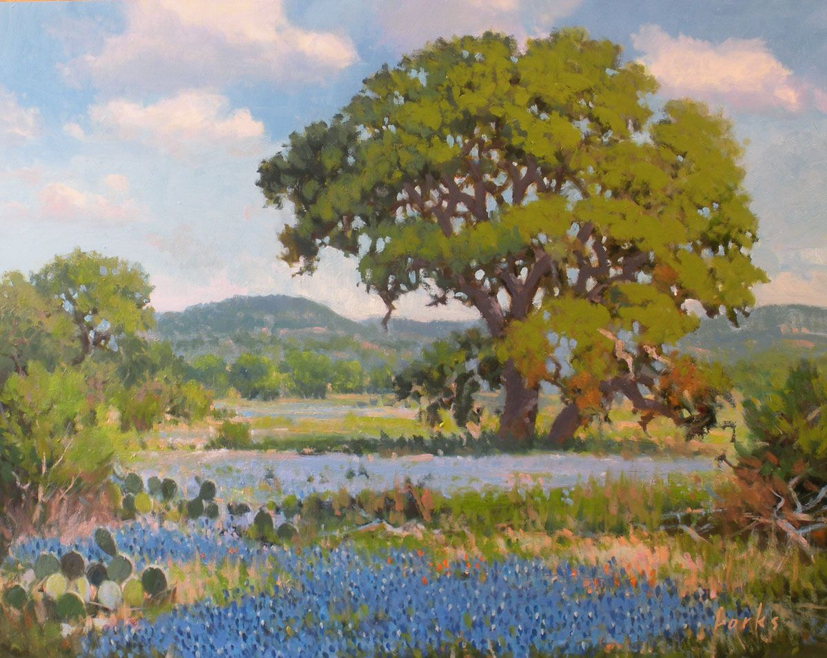 David Forks Texas Landscape Painter Hill Country Afternoon Autumn Painting Wildflower Paintings Oil Painting Landscape