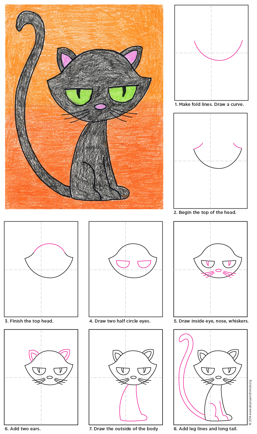 How To Draw A Cartoon Black Cat Art Projects For Kids Black Cat Art Black Cat Drawing Simple Cat Drawing